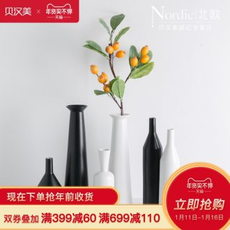 Creative Japanese vase Nordic decorative furnishing articles I and contracted, black and white ceramic dry flower vase sitting room porch flower arrangement
