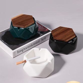 Nordic geometric ceramic ashtray creative move trend home sitting room and fly ash with cover multi - functional furnishing articles
