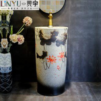 Retro ceramic column basin integrated basin ground pillar lavabo archaize is suing villa pillar type lavatory