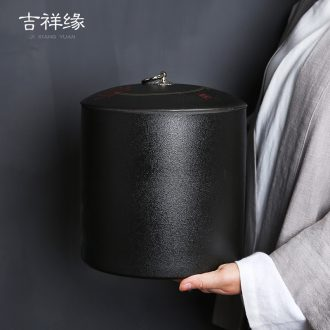 Auspicious edge black pottery tea cake tin, seven cakes containing tea boxes ceramic tea urn detong white tea cake tea cake tin