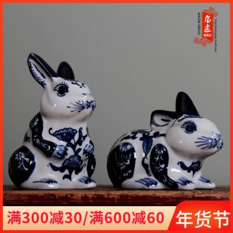 Jingdezhen ceramic animal furnishing articles rabbit cat home sitting room adornment of blue and white porcelain wedding gift bedroom decoration
