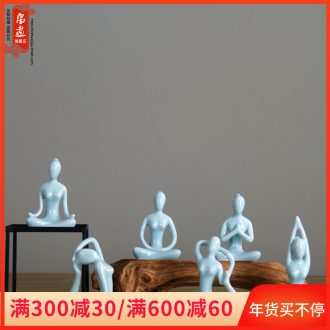 Chinese zen yoga ceramic figure small glass hydroponic flower furnishing articles I and contracted household living room