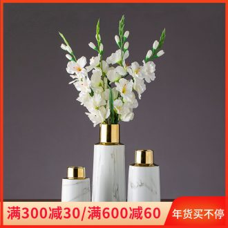 Imitation gold - plated marble ceramic flower implement home furnishing articles dried flower vase jingdezhen ceramic vase desktop sitting room