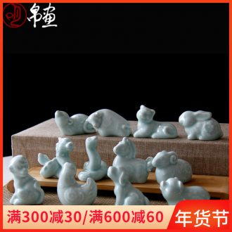 Jingdezhen ceramic zodiac furnishing articles of a full set of the family decorates a small animal ins creative express it in the desktop accessories