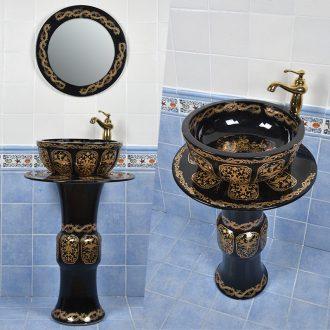 Pillar of small family toilet lavatory basin sink ceramic floor balcony creative for wash basin