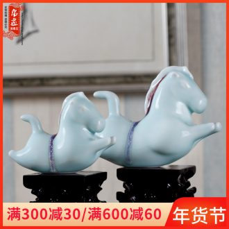 The family decorates a small place, jingdezhen ceramic horse ins creative contracted lovely adornment desktop gifts of new Chinese style
