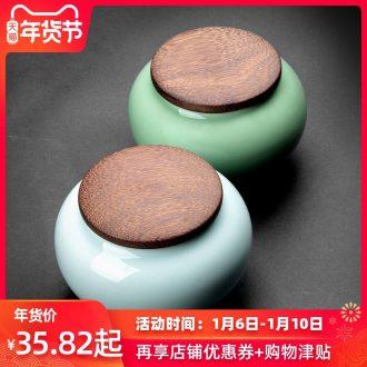 Longquan celadon seal large chicken wings wood caddy fixings tea pu - erh tea tea tea storage tanks ceramic pot