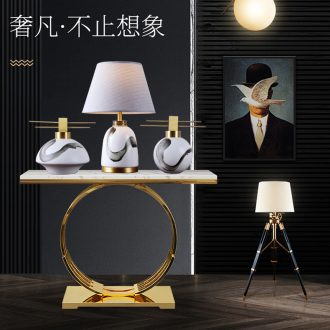 The New Chinese zen painting ink ceramic desk lamp sitting room porch light furnishing articles of key-2 luxury villa copper fittings of bedroom the head of a bed