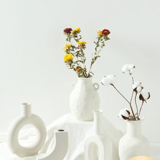 The Nordic idea geometric art vase furnishing articles flower arranging household dry flower I and contracted sitting room ceramic flower ornaments