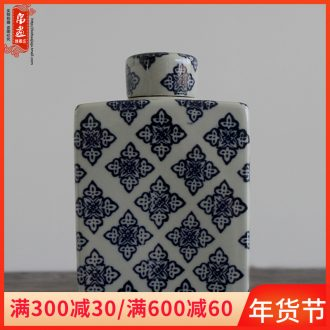 Jingdezhen ceramic Chinese storage tank receive a case of blue and white porcelain household furnishing articles vase flower arrangement sitting room adornment ornament