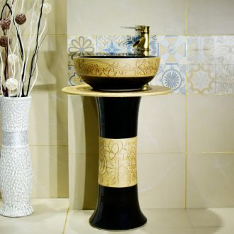 Ceramic column type lavatory floor balcony pillar lavabo toilet basin integrated household contracted
