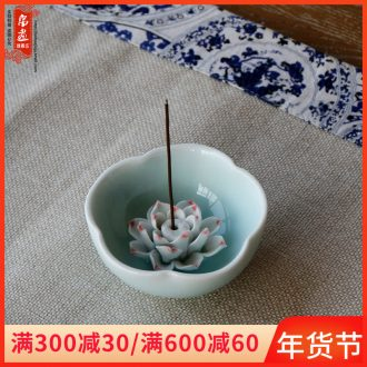 Jingdezhen ceramic aromatherapy censer furnishing articles manually shadow blue flower adornment triangle joss stick creative decoration