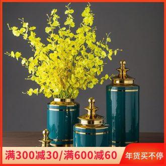 Jingdezhen ceramic flower bottles furnishing articles European - style home sitting room TV ark adornment ornament dried flower flower arranging flowers
