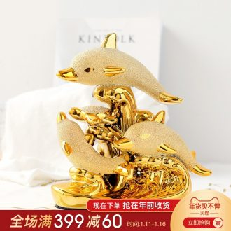 Mr Han mei household modern wedding decoration wine lovers furnishing articles new home decoration ceramic gold - plated dolphin bay of love