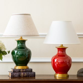 New Chinese style is contracted American ceramic desk lamp sitting room adornment of bedroom the head of a bed hotel villa creative warmth of lamps and lanterns
