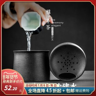 Black pottery built in hot water coarse pottery dross barrels ceramic mini cylinder in hot dry tea mercifully kung fu tea accessories