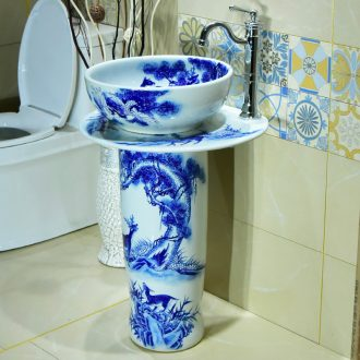 Vertical column of blue and white porcelain basin ceramic column type lavatory sink the courtyard balcony is suing ground basin