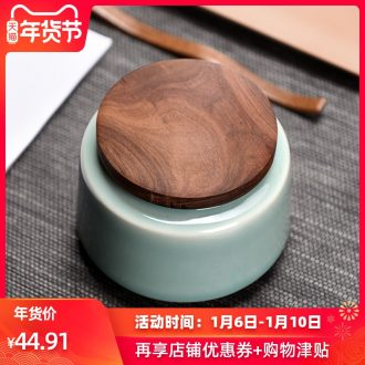 Longquan celadon checking ceramic tea pot wooden cover POTS from the warehouse inventory contracted the receive Japanese storage tank