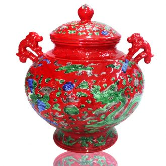 Jingdezhen porcelain pot ears Chinese red porcelain jar storage tank relief longfeng festival furnishing articles