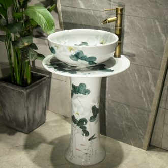 Chinese style column type lavatory floor ceramic lavabo hotel is suing garden pond retro white lotus