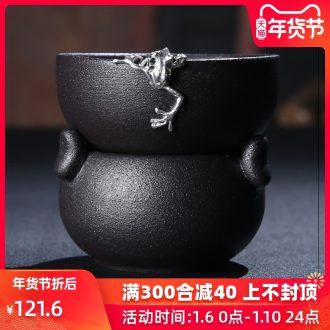 Porcelain sink coarse pottery with silver tea set operation manual silver) ceramic tea filters gift kung fu tea