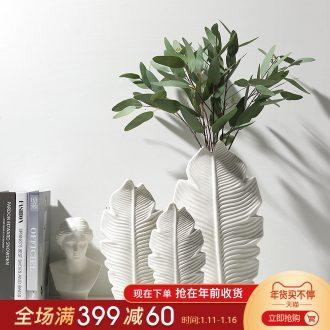 Mr Han mei home sitting room vase furnishing articles modern flower implement ceramics three - piece white vase decoration decoration