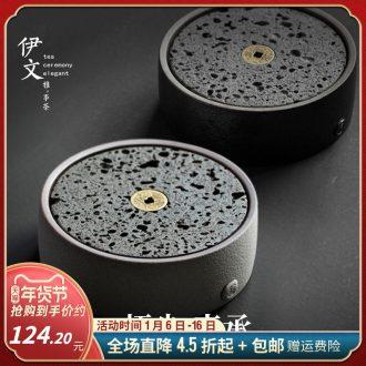 Volcano small pot bearing natural rock round saucer dish machine ceramic tea 12 kung fu tea pot of water as