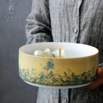 Serve tea Chinese wind li Jiang Shantu large tea to wash to the writing brush washer wash water jar ceramic kung fu tea tea accessories