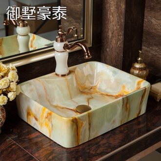 Imitation marble platform basin sink European art creative ceramic lavatory basin I and contracted household