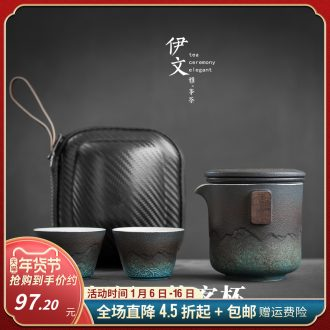 Evan ceramic travel kung fu tea set portable crack cup contracted outside a pot of small suit two cups of tea