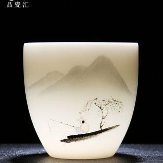 Master hand sample tea cup tea cup single CPU single male personal custom kung fu ceramic cups white porcelain tea set