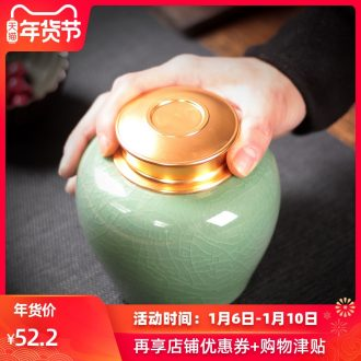 Ceramic seal caddy fixings portable household longquan celadon sealed container large pu 'er tea as cans Ceramic pot