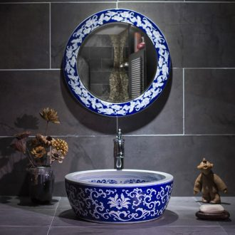 Continental basin round ceramic lavatory art on the small blue and white porcelain basin small size on the sink