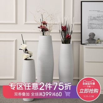 Jingdezhen ceramic household contracted white contracted floor vase furnishing articles checking pottery flower implement soft outfit place adorn