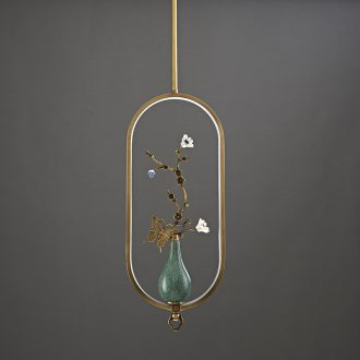 New Chinese style droplight copper flower on sitting room bedroom study all ceramic vase zen Chinese style lamps and lanterns of creative move