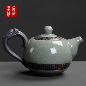 Kung fu tea set one elder brother up with little teapot with ceramic ice to crack the single pot with black tea tieguanyin tea is large