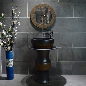 Ceramic basin of pillar type washbasin hand - carved brown line pillar of small family toilet floor for wash gargle