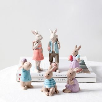 Nordic sitting room furnishing articles, creative and lovely picking rabbit TV ark, porch ceramic small ornament gift ornament