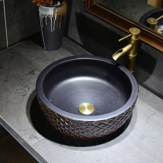Ceramic art basin stage basin restoring ancient ways round sink Europe type washs a face plate toilet wash gargle archaize ideas