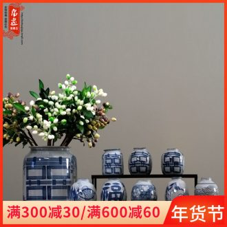 Jingdezhen blue and white porcelain vase furnishing articles ceramic grain reed sitting room flowers, dried flowers, flower arrangement restoring ancient ways have wide expressions using water