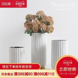 Nordic light wind modern marble vase key-2 luxury ceramic flower implement example room sitting room porch decoration dry flower arranging flowers