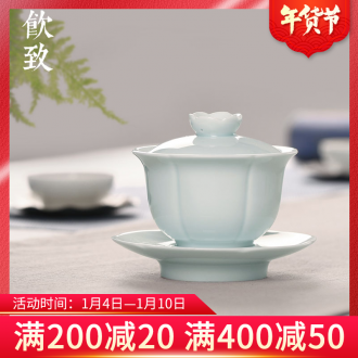 Ultimately responds to shadow celadon tureen large cups tea bowl ceramic bowl suit only three fort single kung fu tea set