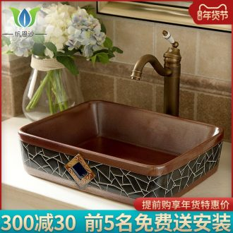 On the ceramic pot art rectangle bathroom sink basin to restore ancient ways of the basin that wash a face to wash to large size European style