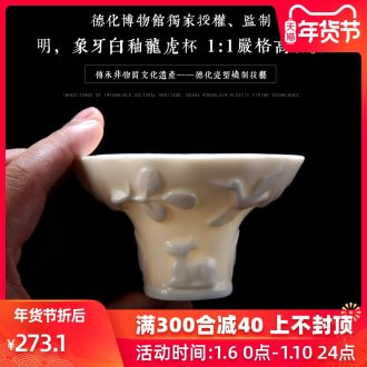 Ivory white glazed porcelain remit dragon cupped in the Ming dynasty dehua up ceramic cups single CPU penjing collection