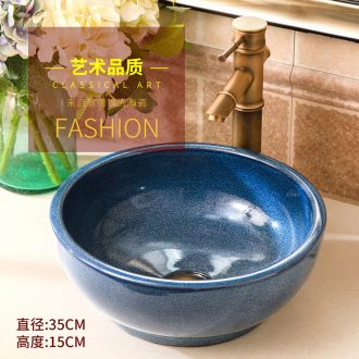 Ceramic small lavabo stage basin to small size circular art 35 cm sinks to restore ancient ways small household