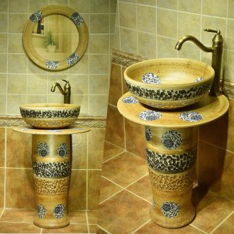 Art basin lavabo floor ceramic sinks one pillar checking toilet wash basin