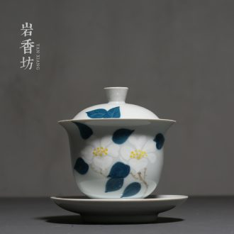 YanXiang fang hand - made camellia contracted only three tureen ceramic worship bowl tea bowl