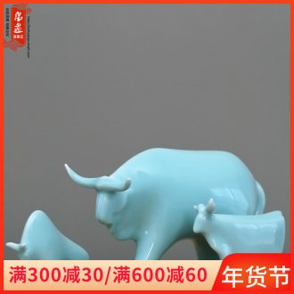 Jingdezhen manual shadow celadon furnishing articles of I sitting room wine creative office home decoration ceramic cow furnishing articles