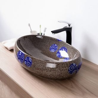 Basin of Chinese style restoring ancient ways blue - and - white ceramics on the sink oval 60 cm hotel toilet Basin large Basin