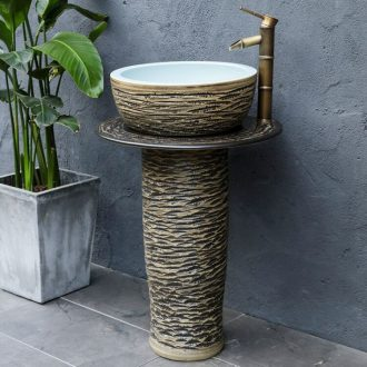 Ceramic column type lavatory is suing floor lavabo balcony garden bathroom carving grain pond